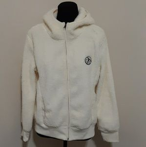 Old Navy Cream Plush Fuzzy Zip-up Hoodie L